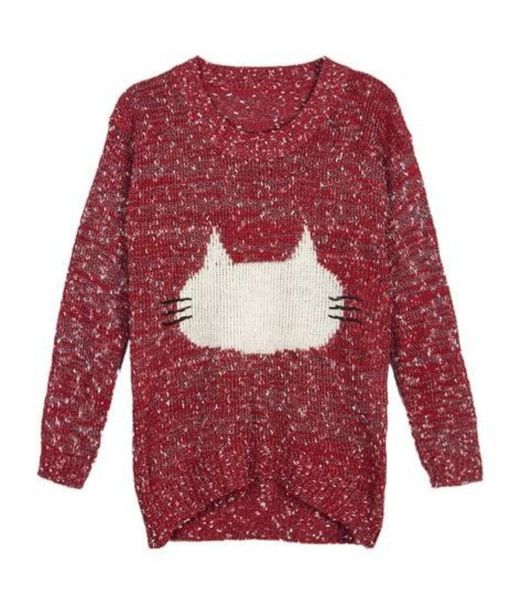red sweater red and white sweater cat sweater fuzzy sweater jacquard sweater one size sweater www.ustrendy.com