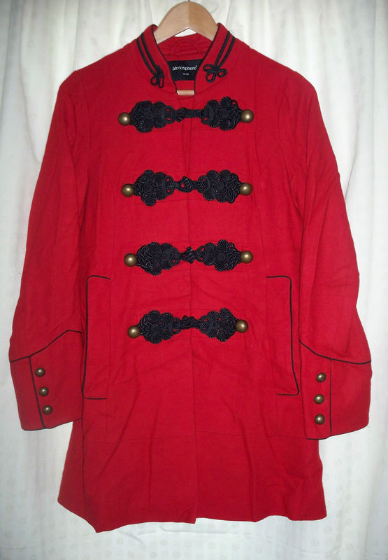 Primark atmosphere red drummer boy / military wool blend coat jacket, size 10
