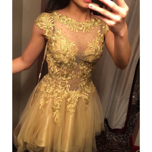 dress gold formal classy pretty short short dress prom dress