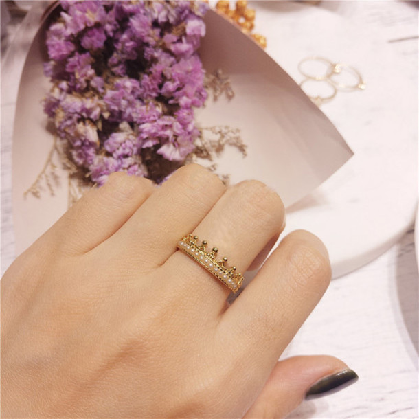 jewels 925 silver gold plated pearl crown ring