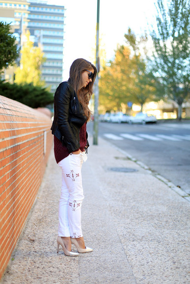 burgundy sweater jeans white jeans aztec print leather jacket fall outfits beige pumps
