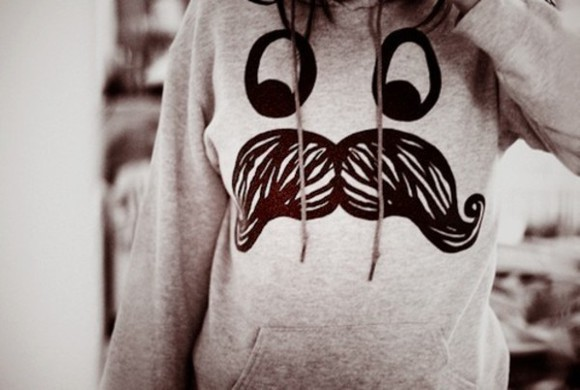 sweater cute moustache sweatshirt eyes face funny awesome :3