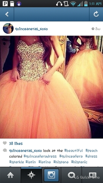 dress peach dress sparkly dress sweet 16 dresses