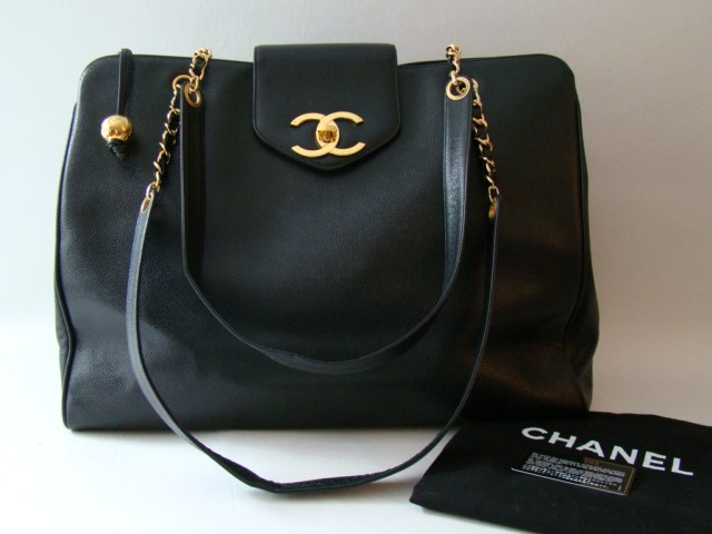 Chanel Vintage Black Caviar XL Jumbo Weekender Tote Bag | Portero Luxury
