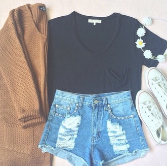 cardigan knit cardigan sweater beige tumblr outfit tumblr shorts