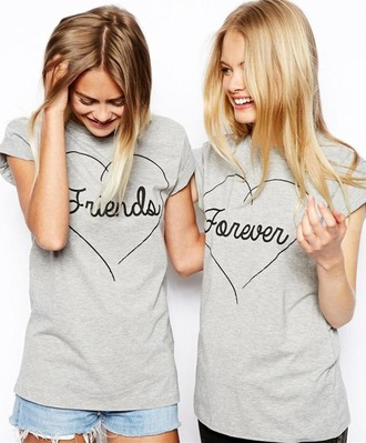 shirt friends bff friends forever forever cute love heart drawn draw overlay top tees grey grunge hipster internet tunblr tumblr best friend shirts