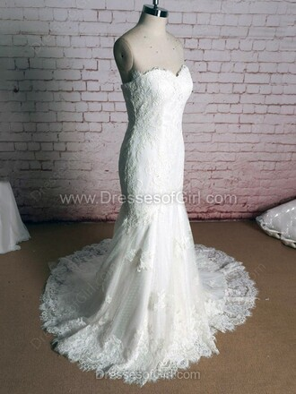 dress wedding bride wedding dress style stylish girly white white dress heart shaped lace bride dresses dressofgirl mermaid tumblr sexy pinterest