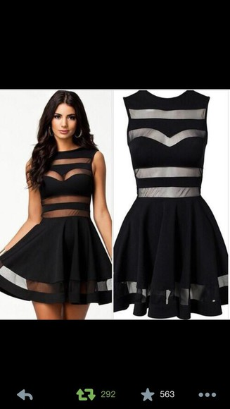 dress little black dress cut out dress clothes black white sheer stripe black mesh skater