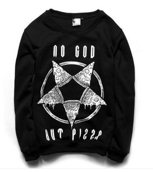 sweater pizza no god but pizza anarchy pentagram cute goth punk
