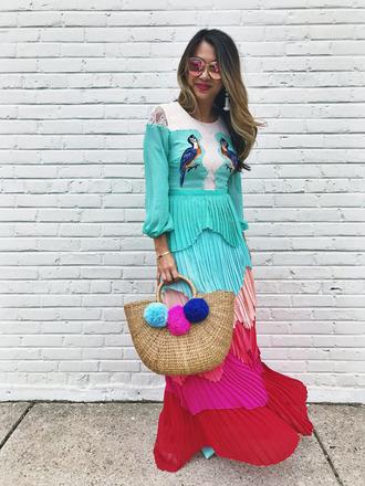 redsolesandredwine blogger dress bag jewels sunglasses maxi dress multicolor dress spring outfits spring dress raffia bag
