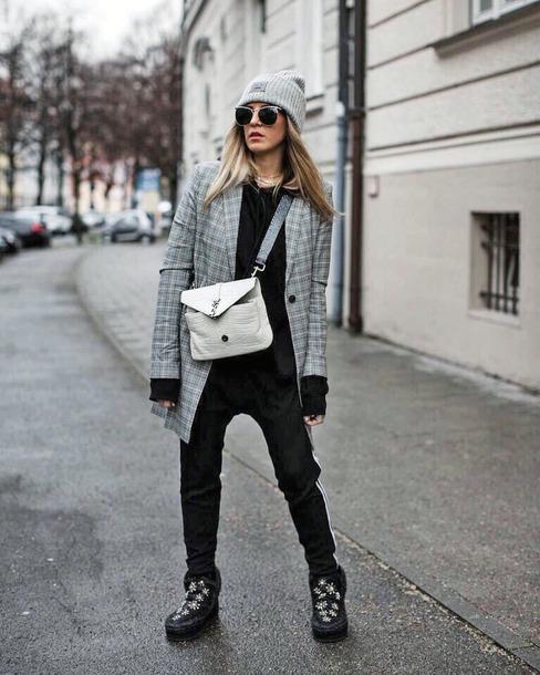 c7d636ac5a3 shoes tumblr boots winter boots pants black pants hoodie black hoodie blazer  plaid blazer check blazer