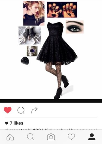 dress black lace dress printed tights shoes black fingerless gloves