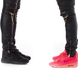 pants black zip shoes zipped pants