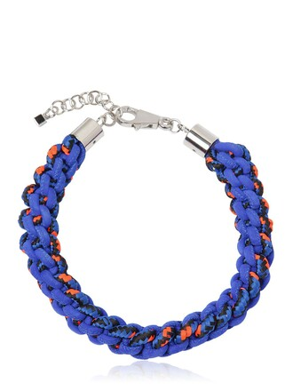 braided necklace blue orange jewels