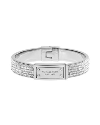 Michael Kors Pave Plaque Bangle, Silver Color - Michael Kors