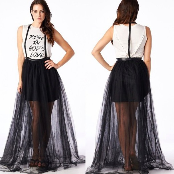 skirt skirt with suspenders mesh black fashion fall fall outfits