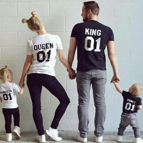 Family King Cotton Lovers Queen Outfits Letter Tshirt Matching Shirt OiulPZkXTw