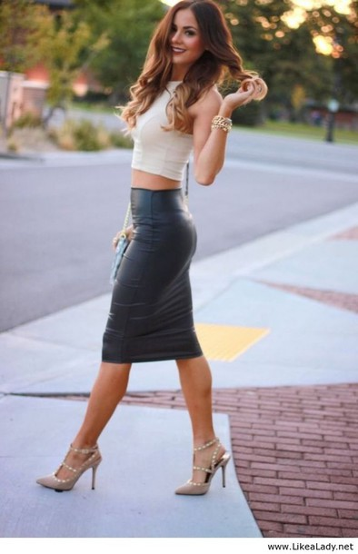 b69e93b4075a skirt, black leather skirt, leather skirt, pencil skirt, shirt ...