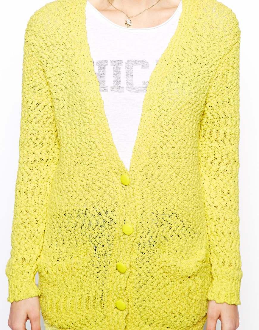 ASOS Boyfriend Cardigan In Textured Knit at asos.com