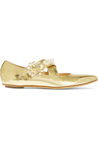 metallic embellished flats leather gold shoes