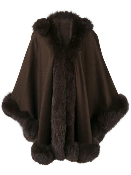 Liska cape fur fox women brown top