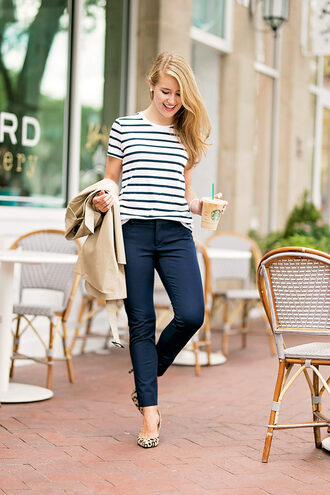 a lonestar state of southern blogger pants top coat shoes jewels striped top pumps navy pants