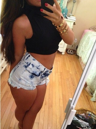 shorts denim shorts high-wasted denim shorts acid wash denim shirt jewels