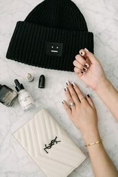 nail accessories,tumblr,nail polish,nails,nail art,bag,white bag,ysl bag,ysl,beanie