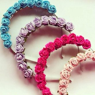 hair accessory flowers flower crown purple flower crown pink flower crown