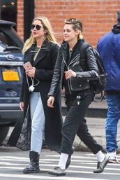 coat,jacket,biker jacket,kristen stewart,ashley benson,streetstyle,celebrity,sunglasses