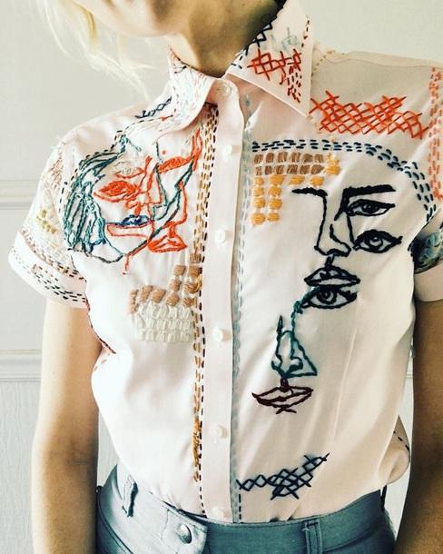 shirt embroidered button up button down shirt