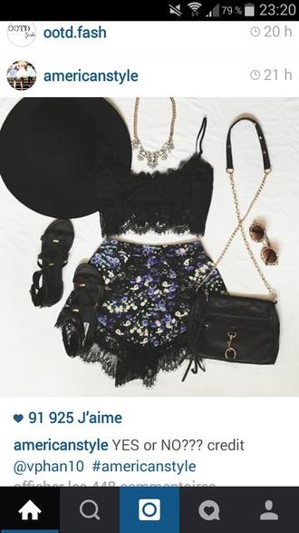 shorts lace black floral festival bohemian coachella
