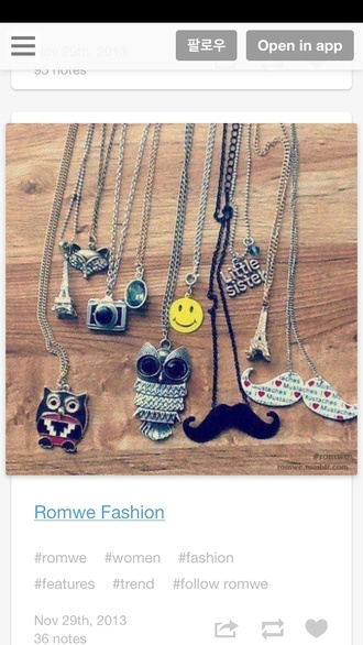 jewels camera owl mustache necklace