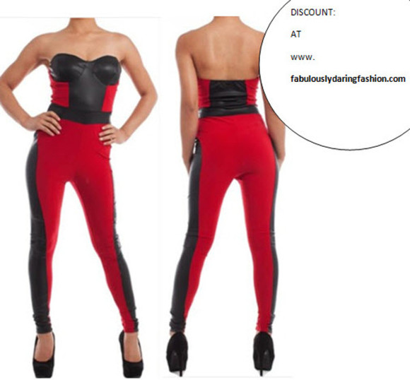 tube top dress jump suit jumpsuit sexy jumpsuit tube style'\ tube top jumpsuit red jumpsuit black jumpsuit leather jumpsuit