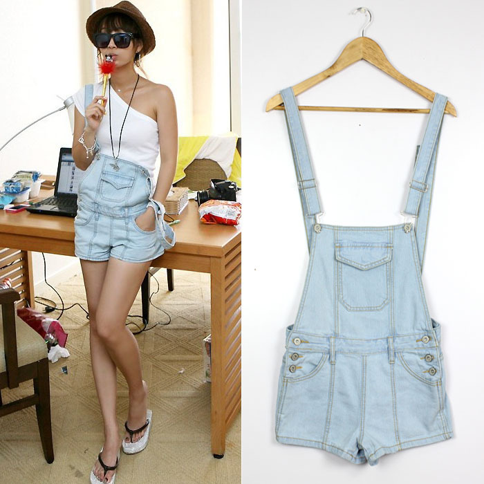 free shipping Button removable wear white the retro piece pants denim overalls female strap shorts loose jumpsuit-inJeans from Apparel & Accessories on Aliexpress.com