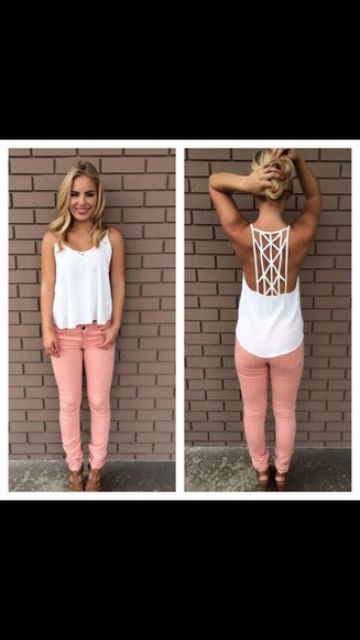 tank top white tank top coral pants summer outfits