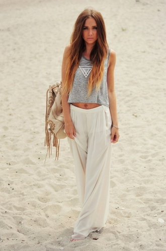 pants white wide leg pants beach comfy white pants wide-leg pants beach pants casual tank top bag shirt flowy grey top white large cream summer outfit waves ombr? hair tie dye beautiful pants
