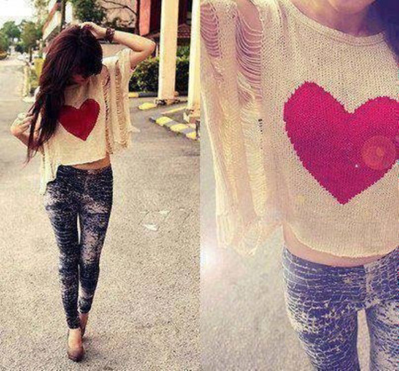 pink heart blouse sweater top pinky white girl