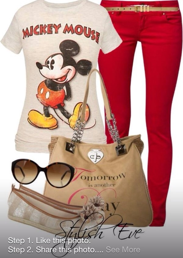 jeans shirt bag red jeans disney mickey mouse