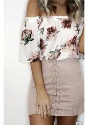 top,skirt,dusty rose skirt,front crossed skirt,swede,mini skirt