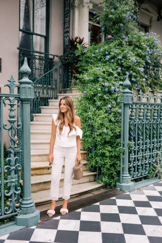 gal meets glam blogger top pants shoes sunglasses jewels bag slide shoes summer outfits white top