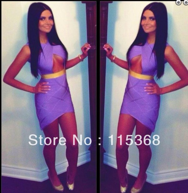 bandage dress purple dress