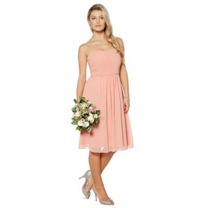 Debut peach ruched bodice midi dress