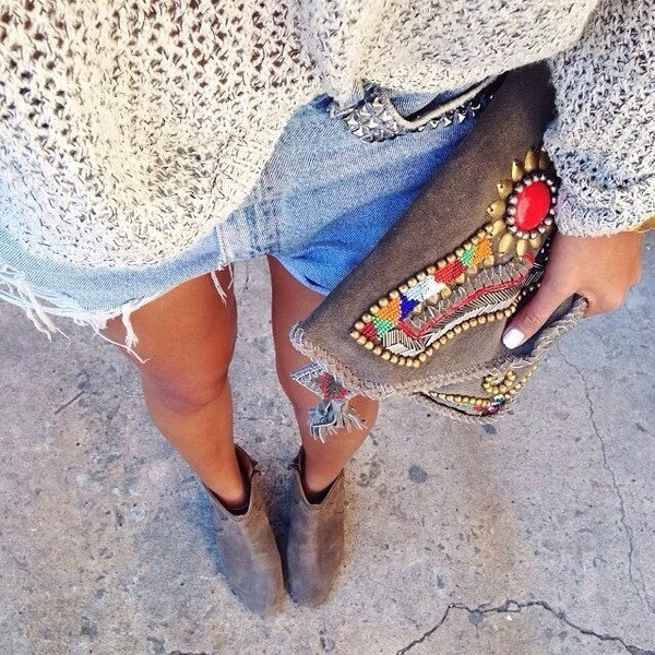 bag knitted sweater studded shorts High waisted shorts clutch handbag studded clutch sweater shorts