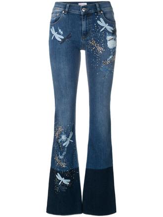 jeans women spandex dragonfly cotton blue
