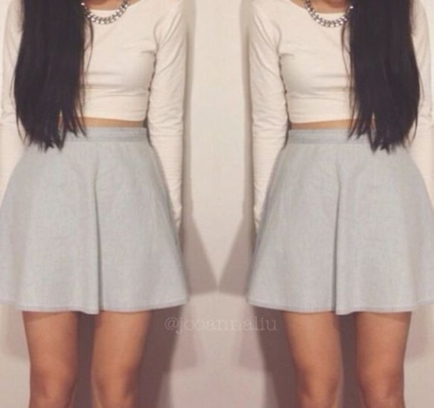 Skirt skater skirt crop tops summer outfits tumblr instagram natachaxo shirt - Wheretoget