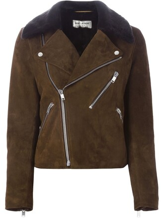 jacket biker jacket fur brown