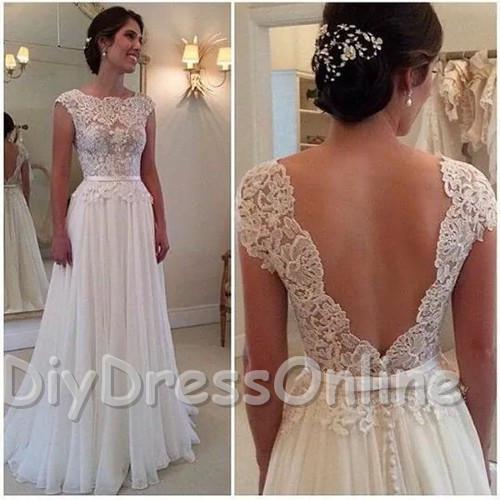 line Lace Bodice Cap Sleeve Beach Wedding Dresses Ivory Chiffon ...