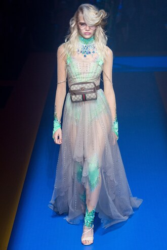 dress gown see through see through dress stella lucia model gucci runway milan fashion week 2017 fashion week 2017 purse sandals