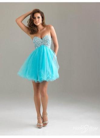 dress sky blue short dress prom dress